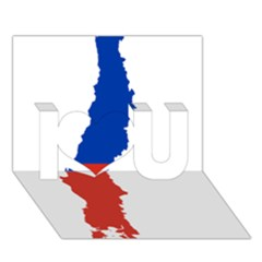 Flag Map Of Chile  I Love You 3d Greeting Card (7x5)