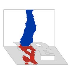Flag Map Of Chile  Love Bottom 3d Greeting Card (7x5)