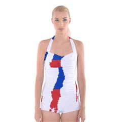 Flag Map Of Chile  Boyleg Halter Swimsuit