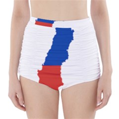 Flag Map Of Chile  High-Waisted Bikini Bottoms