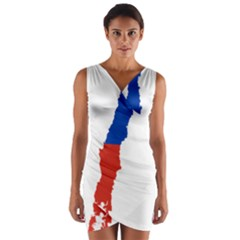Flag Map Of Chile  Wrap Front Bodycon Dress