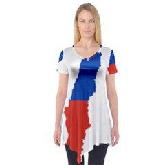 Flag Map Of Chile  Short Sleeve Tunic