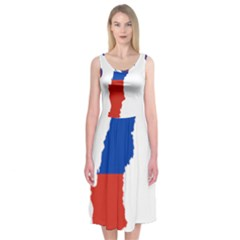 Flag Map Of Chile  Midi Sleeveless Dress