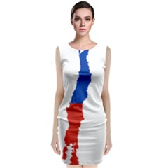 Flag Map Of Chile  Classic Sleeveless Midi Dress