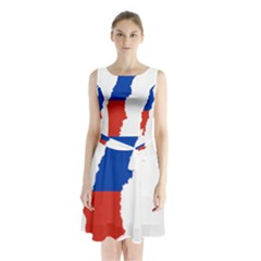 Flag Map Of Chile  Sleeveless Waist Tie Dress