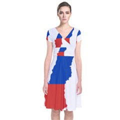 Flag Map Of Chile  Short Sleeve Front Wrap Dress