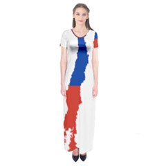 Flag Map Of Chile  Short Sleeve Maxi Dress