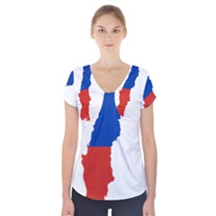 Flag Map Of Chile  Short Sleeve Front Detail Top