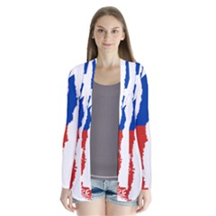 Flag Map Of Chile  Drape Collar Cardigan