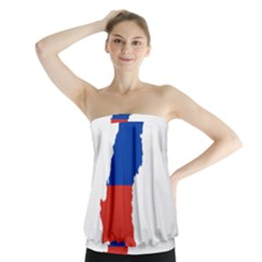 Flag Map Of Chile  Strapless Top