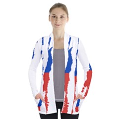 Flag Map Of Chile  Women s Open Front Pockets Cardigan(p194)