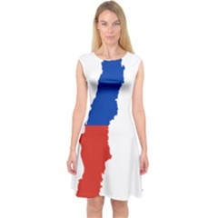 Flag Map Of Chile  Capsleeve Midi Dress