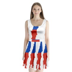 Flag Map Of Chile  Split Back Mini Dress
