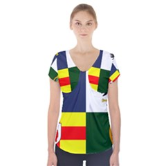 Four Provinces Flag Of Ireland Short Sleeve Front Detail Top