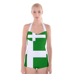 Flag Of Puerto Rican Independence Party Boyleg Halter Swimsuit