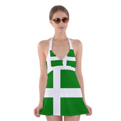 Flag Of Puerto Rican Independence Party Halter Swimsuit Dress