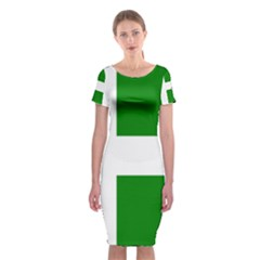 Flag Of Puerto Rican Independence Party Classic Short Sleeve Midi Dress
