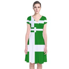 Flag Of Puerto Rican Independence Party Short Sleeve Front Wrap Dress