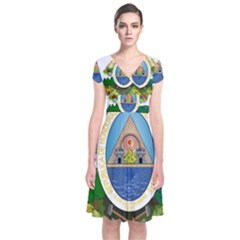 Coat Of Arms Of Honduras Short Sleeve Front Wrap Dress