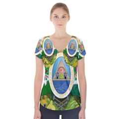 Coat Of Arms Of Honduras Short Sleeve Front Detail Top