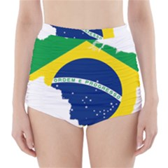 Flag Map Of Brazil  High-Waisted Bikini Bottoms
