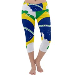 Flag Map Of Brazil  Capri Yoga Leggings
