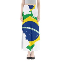 Flag Map Of Brazil  Maxi Skirts