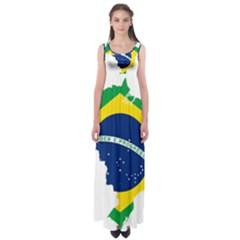 Flag Map Of Brazil  Empire Waist Maxi Dress