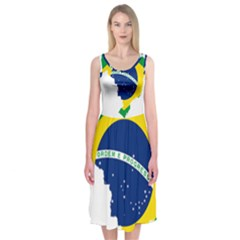 Flag Map Of Brazil  Midi Sleeveless Dress