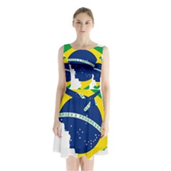 Flag Map Of Brazil  Sleeveless Waist Tie Dress