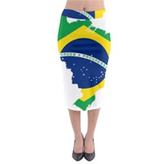Flag Map Of Brazil  Midi Pencil Skirt