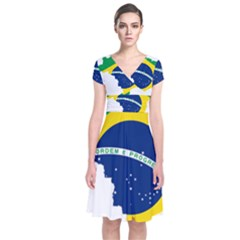 Flag Map Of Brazil  Short Sleeve Front Wrap Dress