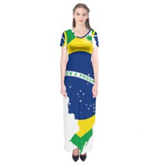 Flag Map Of Brazil  Short Sleeve Maxi Dress