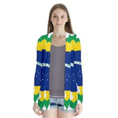 Flag Map Of Brazil  Drape Collar Cardigan