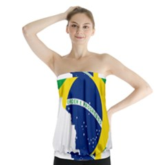 Flag Map Of Brazil  Strapless Top