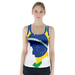 Flag Map Of Brazil  Racer Back Sports Top
