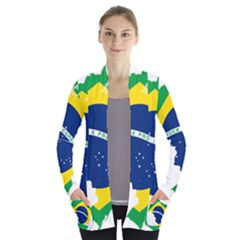 Flag Map Of Brazil  Women s Open Front Pockets Cardigan(p194)