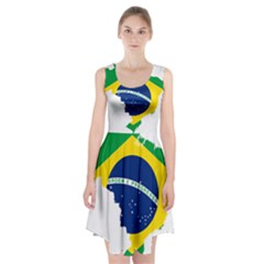 Flag Map Of Brazil  Racerback Midi Dress