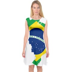 Flag Map Of Brazil  Capsleeve Midi Dress