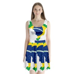 Flag Map Of Brazil  Split Back Mini Dress