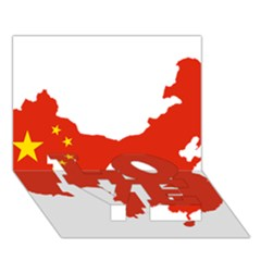 Flag Map Of China Love Bottom 3d Greeting Card (7x5)