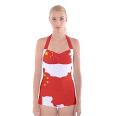 Flag Map Of China Boyleg Halter Swimsuit