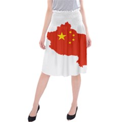 Flag Map Of China Midi Beach Skirt