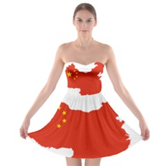 Flag Map Of China Strapless Dresses