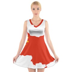 Flag Map Of China V-Neck Sleeveless Skater Dress