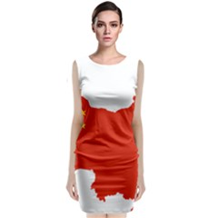 Flag Map Of China Classic Sleeveless Midi Dress