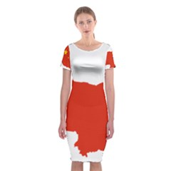Flag Map Of China Classic Short Sleeve Midi Dress