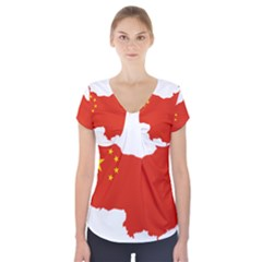 Flag Map Of China Short Sleeve Front Detail Top