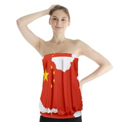 Flag Map Of China Strapless Top