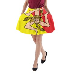 Coat Of Arms Of Sicily A Line Pocket Skirt